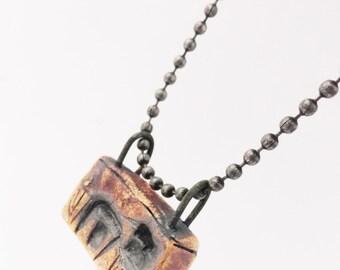 Dark House Necklace Pendant,Tiny Weird Clay House, Haunted Miniature,House Jewelry,  Burned Cottage, Strange Crooked Shack, HD