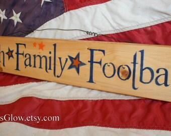 Faith Family Football, Football Sign, Family Sign, Wood Plank, Gator  Football Colors