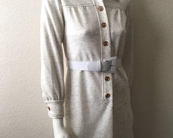 Vintage Women's 70's Mod Dress, Oatmeal, Polyester, Long Sleeve (M)