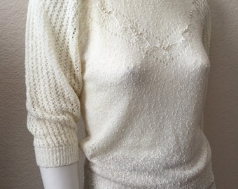 Vintage Women's 80's Cream Sweater, Acrylic, Knit by Exclusive Imports (S/M)