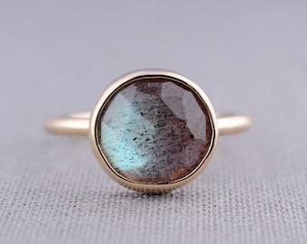 14K Gold Rose Cut Labradorite Ring