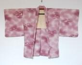Vintage Japanese Haori Kimono Cardigan With Artful Purple White Pattern 二