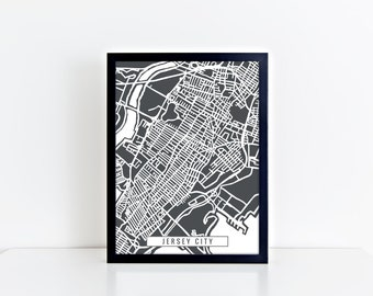 Jersey City map digital download - Jersey City art - Jersey City decor - Jersey City print