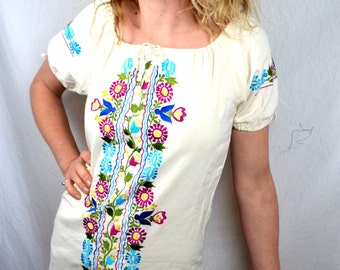 Embroidered 1970s 70s Vintage Mexican Floral Maxi Cotton Dress