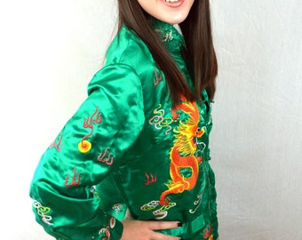 Gorgeous Eastern Floral Dragon Silk Embroidered Vintage Jacket