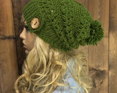 Crochet Ribbed Brim Slouchy Slouch Crochet Beanie Hipster Hat Coconut  Button Pom Pom - CHINOOK - MOSS