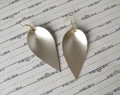 Metallic Champagne Gold Leather Leaf Earrings - different sizes