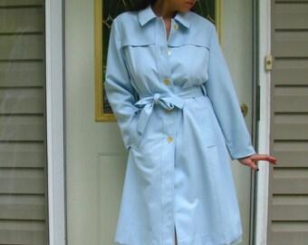 Vintage 70s Baby Blue Trench Coat Rain Jacket Ladies - size Large - Pockets, Belt