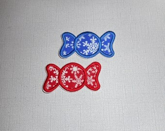 Free Shipping Ready to Ship 2 Christmas candies Fabric iron on applique