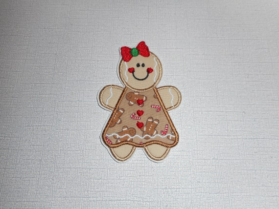 Free Shipping Ready to Ship Gingerbread Girl Fabric iron on applique