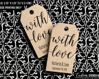 with love tags, personalized with your names and wedding date, treat bag tags, custom tags, shipping tags, wedding favor tags (T-79)