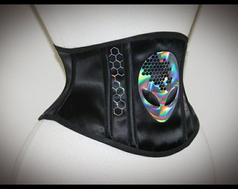 Hive Mind Alien Iridescent Holographic Underbust Steel Boned Corset Cincher - Sample READY TO SHIP