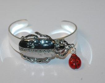 Beetle Chasing Ladybug Bangle ,  Beetle Bangle , Ladybug Bangle