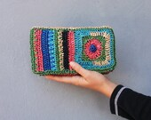 Bohemian Rafia Clutch Purse Wallet Corcheted Rafia Colorful Stripes