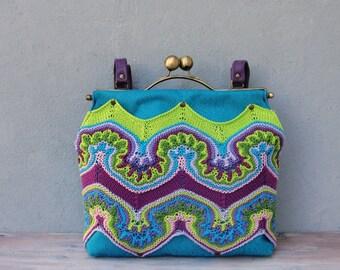 Rainbow Bohemian Bag, Hand Knitted, Fractal Style, Leather Straps, Kiss-lock, Boho