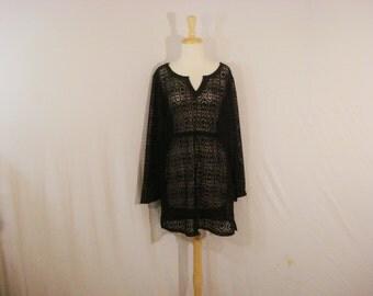 Black Boho Beachy Tunic Top Cover Up Vintage Islander Summer Clothes L XL