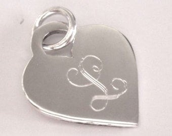 Sterling Heart Charm, Engraved Heart Charm, Name Heart Charm, Initial Heart Charm, Bridesmaid Jewelry, Anniversary Gift, Personalized Heart
