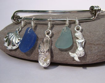 Sea Glass Bracelet - Cobalt, Aqua - Charm Bracelet - Sea Shell, Flip Flop, Mermaid - Silver Adjustable Bangle Bracelet