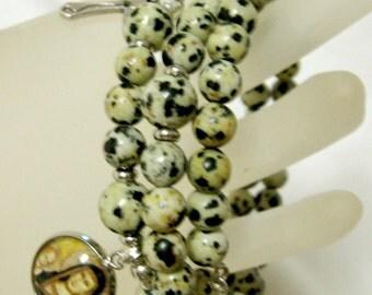 Dalmatian jasper rosary wrap bracelet with Madonna medal - WB01-427