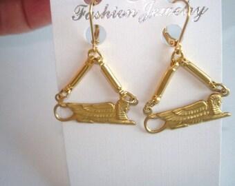Egyptian Revival Gold Tone Earrings