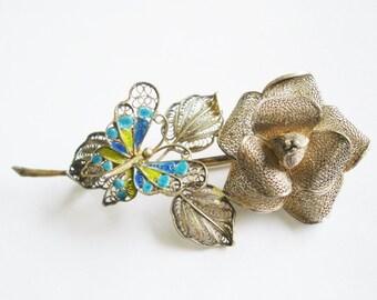 800 Jewelry Silver Filigree Butterfly Flower Brooch