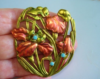 Flowers Turquoise Stone  Brooch  Multi Tone