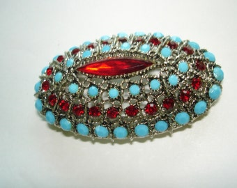 Red Turquoise Stone Silver Tone Brooch