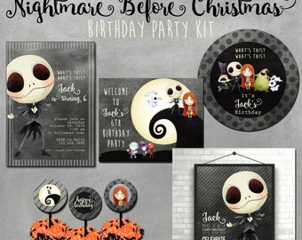 Nightmare Before Christmas Birthday Party Printable Kit,  Custom Jack Skellington Party, Halloween Party Kit, 5x7 Party Invitations