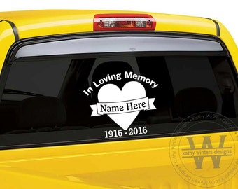 Vehicle Decal Heart Banner In Memory