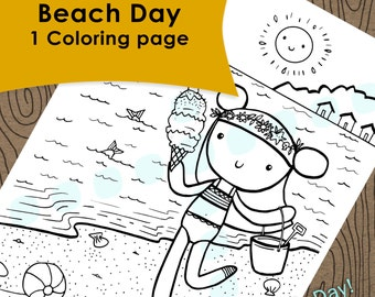 Beach day coloring page, Kids coloring page
