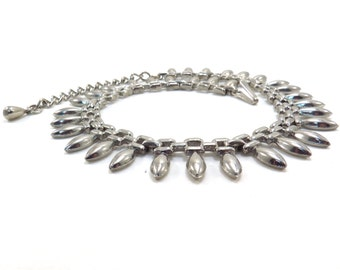 Silver Marquise and Chain Shaped Choker Vintage 1950s Mid Century Necklace - FREE Domestic Shipping