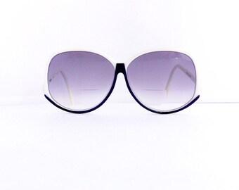 60s Vigneri Sunglasses Frames Women's Vintage 1960's Mod Boho White with Black Detail Frames Oversize Lens #M365 DIVINE (EB)