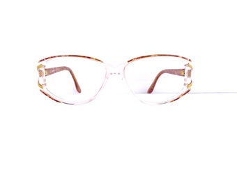 90s Valentino Readers Eyeglasses Women's 1990's Clear with Red Pattern & Gold Detail Frames Made in Italy Model V176 #M432 DIVINE