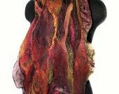 Nuno Felted Scarf Textured Hand Dyed Felt Scarf Earthy Color Wool Silk Women Scarf OOAK Felt Gift