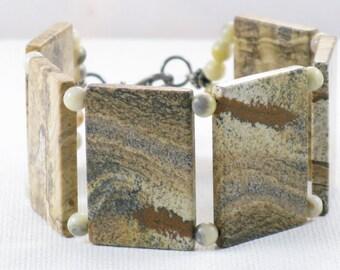 Vintage Polished Stone Picture Jasper and Sterling Silver Panel Bracelet (BR-3-4)
