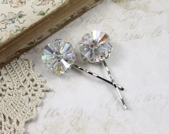Pair Vintage Austrian Crystal Cluster Jeweled Bobby Pins, Austrian Crystal Bridal Hair Pins, Aurora Borealis Crystal Wedding Hair Pins