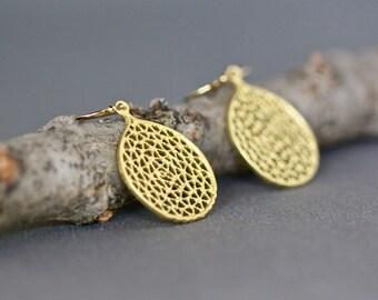 Gold Vermeil Earrings - Gold Filigree Earrings - Matte Gold Earrings - Gold Dangles - 18k Gold Earrings - Everyday Earrings - Gift for Her