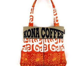 MTO. Custom. Kona Coffee, Burlap and Pleated Hobo. Repurposed UCC Hawaii Coffee Sack. Handmade in Hawaii.
