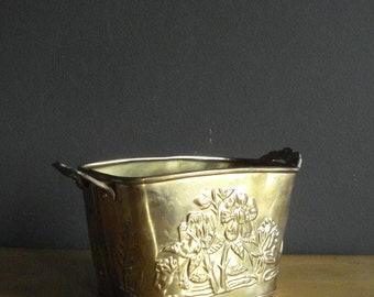 Brass it Up - Small Brass Planter or Organizing Bin -  Embossed Floral Design