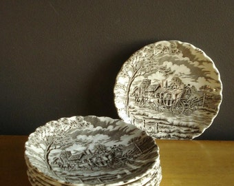 Royal Mail - Vintage Myott Staffordshire Ware Saucers - Made in England - Brown Transferware