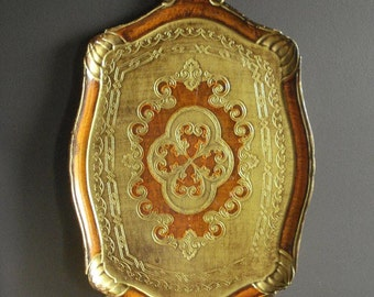 Orange and Gold Tray - Vintage Gilded Vanity or Drink Tray - Made in Italy - Taormina Sicily