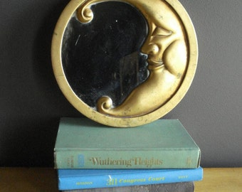 Man in the Mirror, Man in the Moon - Small Round Framed Mirror - Vintage Moon Mirror for Nursery