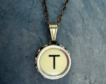 Initial Necklace - Typewriter Key Necklace - Initial T