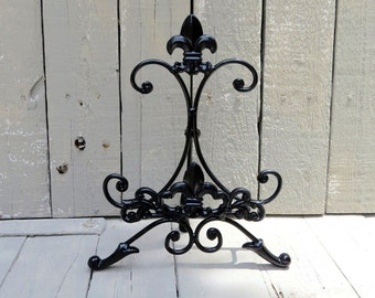 Black Metal Easel, Book Stand, Art Prop, Cookbook Stand, Shabby and Chic, Fleur De Lis, Cottage Chic, French Country Decor, Wedding Decor