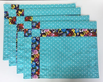 4 Quilted Placemats Blue and Purple, Summer Picnic and Party Decor, Set of 4