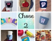Chose any two cup cozies, discounted rate, buy more and save, fall and autumn cup cozy, dentist nurse teacher gift, coffee cozy sleeve