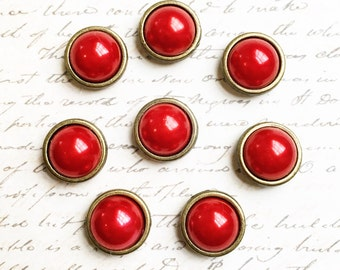 Push Pins - Decorative Push Pins - Office Supplies - With Gold - Message and Bulletin Board - Office Accessories - Office Organization - Red