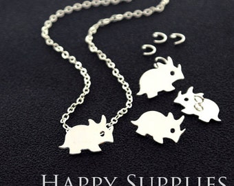"""Nickel Free - High Quality Rhinoceros Golden / Silver Plated Brass 16"""" Long Chain Necklace Set (N10)"""