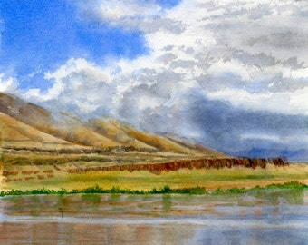 Columbia River Cloudy Sky. Watercolor, landscape, painting, original, reflections, river, clouds 10.5 x 16.5