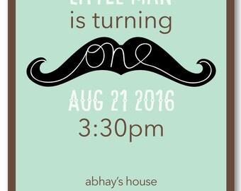 Little Man Mustache Birthday Invitation - DIY Printable PDF File